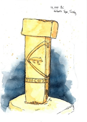 Cover illustration of an early Neolithic monumental T-Pillar at Göbekli Tepe for Bilim ve Ütopya, May 2019.