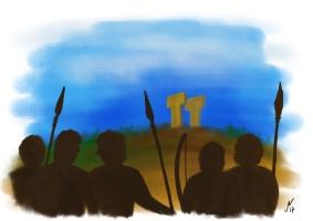 "Scenic illustration for the Göbekli Tepe research project weblog ""The Tepe Telegrams"", December 2017."