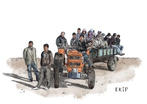 """""""Bidding good bye, the crew of workmen is boarding tractors and trailers, leaving for that small village down the hill-dragging behind a dustcloud all the way."""""""